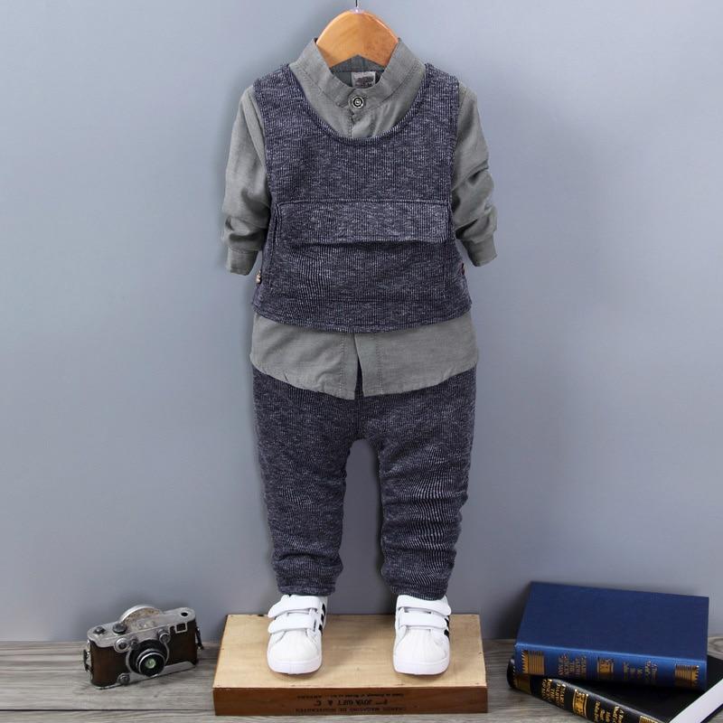 Children Boys Girls Set Spring New Autumn Fashion Kids Comfortable Cotton Vest + T-shirt + Pant Three-piece High Quality Suit