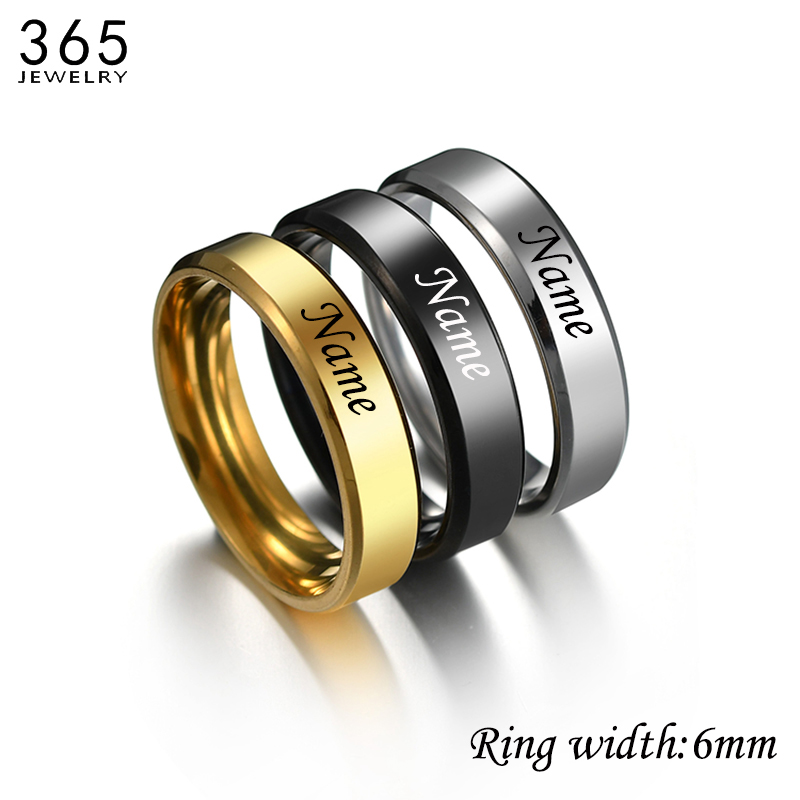 Personalized Stainless Steel Engraved Name Rings Men Women 6 Color Couple Finger Ring Party Wedding Jewelry