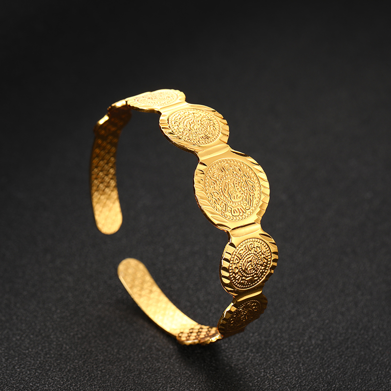 SONYA Islamic Muslim Gold Color Open Coin Bracelet Arab Coins Bracelet For Women Middle Eastern Jewelry African Gifts Bijoux