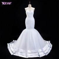 YQLNNE White Mermaid Trumpet Wedding Dresses Sweetheart Tulle Back Zipper Buttons Bridal Dress Vestido De Noiva