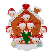 Personalized Gingerbread House Family of 8 for party, Christmas holiday, New year, souvenir