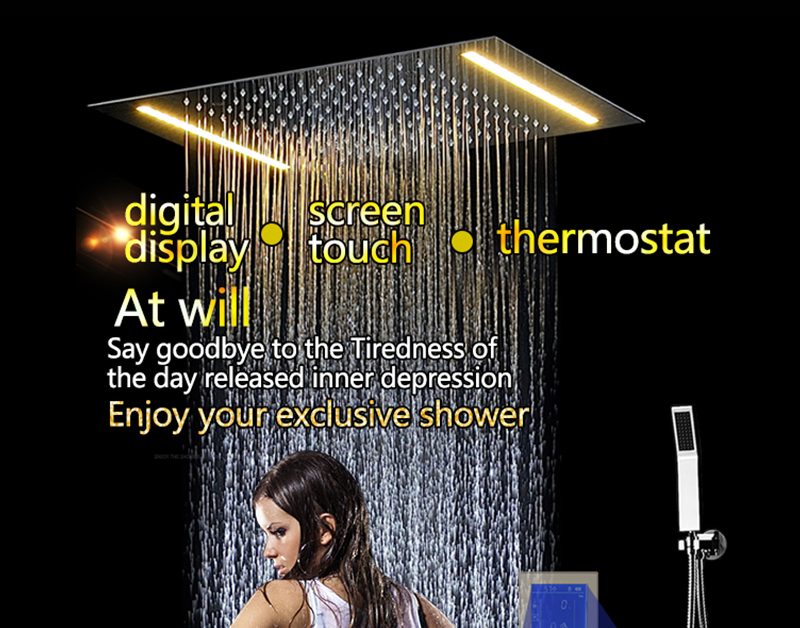 Digital Shower Set Controller Touch Control Panel SUS304 Rainfall Bathroom Thermostatic Control Led Digital Shower Faucet (1)
