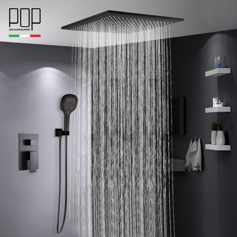 Pop Bathroom Luxury Rain Mixer Shower Combo Set Ceiling