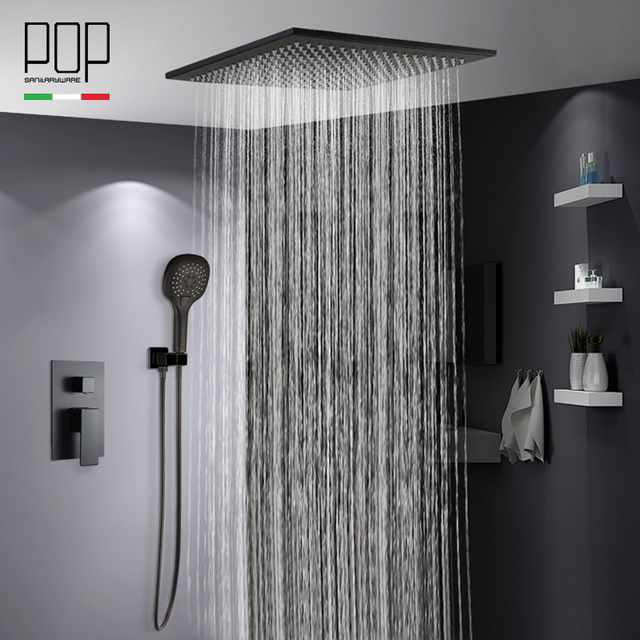 POP Bathroom Luxury Rain Mixer Shower Combo Set Ceiling Mounted Matte Black Rainfall Head