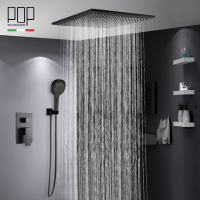 POP Bathroom Luxury Rain Mixer Shower Combo Set, Ceiling Mounted Matte Black Rainfall Shower Head System Bath & Shower Faucet