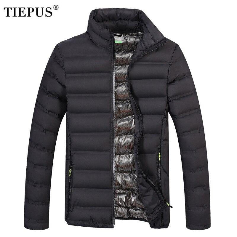 TIEPUS Winter Men Jacket 2018 Brand Casual Mens Jackets And Coats light cotton   Parka   Men Outwear 4XL Jacket Male Clothing
