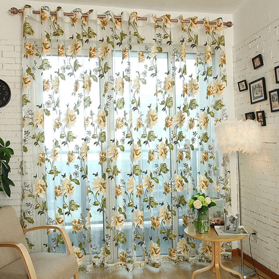 Red Rose Floral Tulle Door Window Curtain Drape Panel Sheer Scarf Valances Bedroom Living Room With