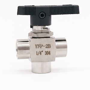 "Image 1 - משלוח ספינה גוגו 3 דרך נקבה חוט כדור valve 1/8 ""1/4"" 3/8 ""1/2"" נירוסטה 304 גבוהה טמפרטורת לחץ טי כדור valve"