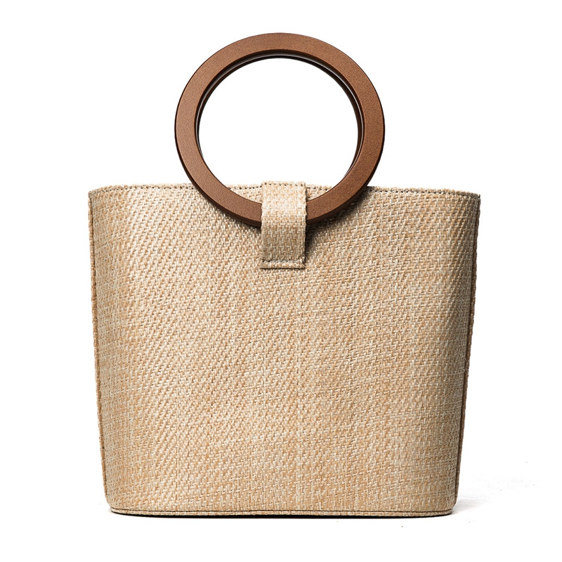 2018 Bag Women Tote Bag Shoulder Bags Straw Bucket Solid String Open Single Shoulder Beach Rings Bales High Quality