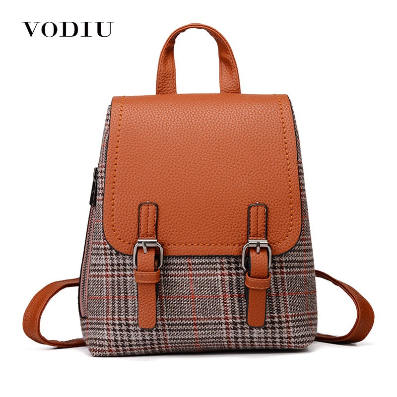 Women Backpack Leather Female Teenage Backpacks For Girls Canvas High Quality Plaid Casual Notebook Ladies Small School Bags backpack women school bags brand backpacks women high quality large capacity teenager backpacks for teenage girls student bags