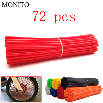 Universal Motorcycle Dirt Bike Wheel Rim Cover Spoke Skins Wrap Tubes Decor Protector 72 Pcs Red Blue Black Orange