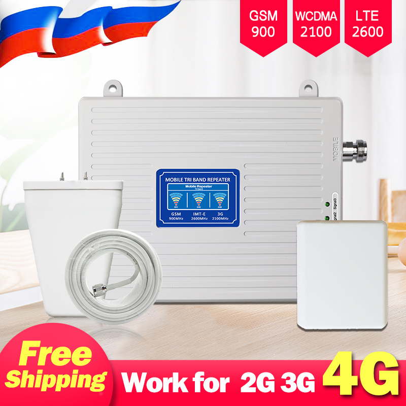 2G 3G 4G Cellular Amplifier Repeater 4G GSM Mobile Signal Booster 900 2100 UMTS 2600 LTE FDD Cell Phone Signal Repeater Tri Band