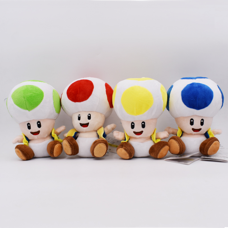 16cm 4 Styles 4 Color Super Mario Plush Toy Toad Green Yellow Blue Red Open Mushroom Stuffed Doll Christmas Gift For Children