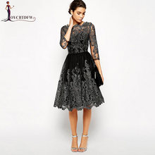 Spring Women Dress 2018 Summer Fashion New Temperament Pure color Dress Vintage Silver line Embroidered Female Party Dress NO092(China)