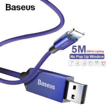 2e557ea07d3 Baseus Nylon 5 M Cable USB Cable de carga rápida de Reversible para iPhone  X XR Xs 8 7 6 Plus de Apple cable de datos largo del cargador del iPhone