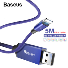 Baseus Nylon 5M USB Cable Fast Charging Cable Reversible for iPhone X XR Xs 8 7 6 Plus Apple iPhone Charger Long Cable Data Cord