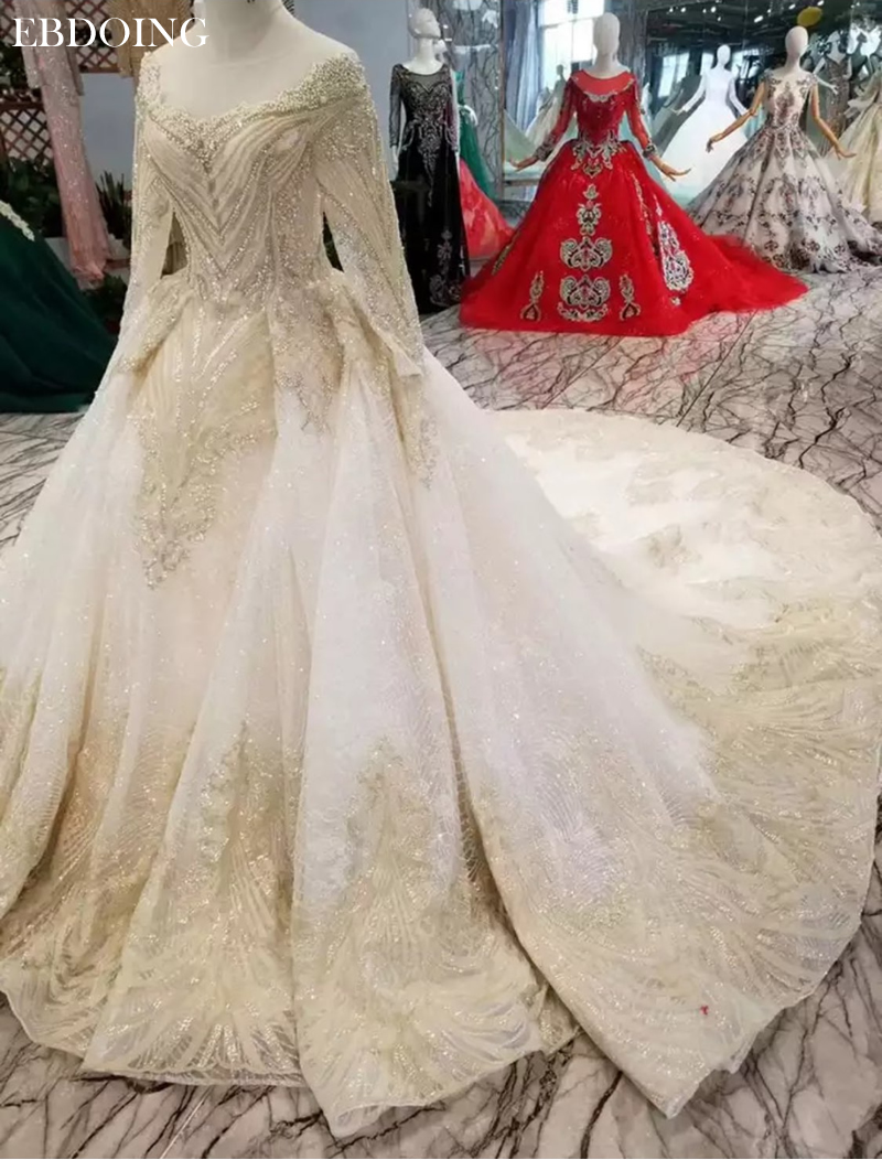 Vestidos De Novia Ball Gown Wedding Dress Boat Neck Full Sleeves Court Train Lace UP Bride Dress Plus Size With Lace Beading