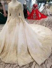 Vestidos דה Novia כדור שמלת חתונה שמלת סירת צוואר מלא שרוולי משפט רכבת תחרה עד הכלה שמלה בתוספת גודל עם תחרה ואגלי