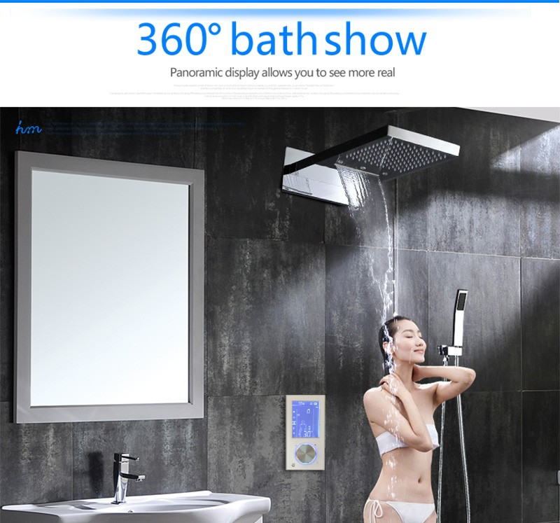 Digital Thermostat Waterfall Shower Controller Touch Control Panel Large SUS304 Rainfall Massage Bathroom Celling  (16)