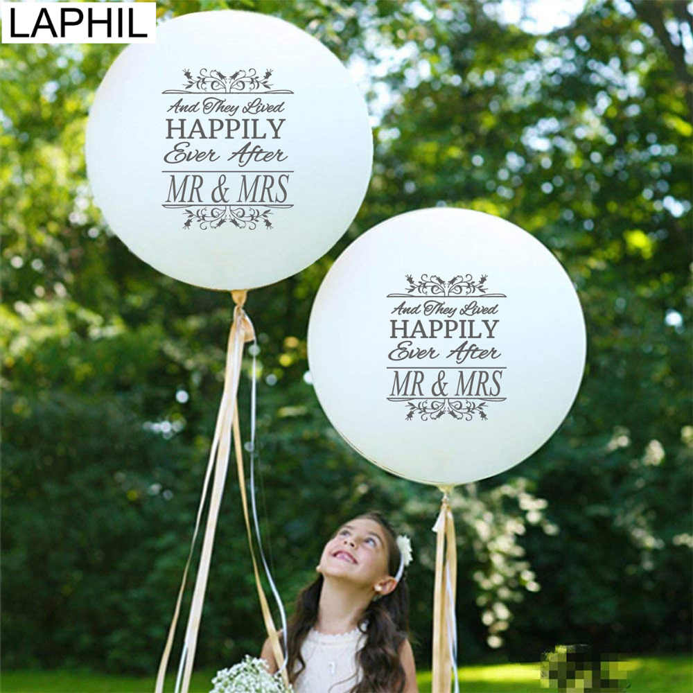 LAPHIL 36inch Happily Ever After Mr Mrs Just Married Latex Balloons Bridal Shower Helium Air Balloon Wedding Decoration Ballons