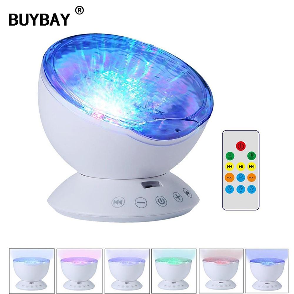 New Ocean Wave Projector LED NightLight Starry Sky Aurora Luminaria Built-in Music Player USB Novelty Lamp for Baby Children Kid vasos sanitários coloridos
