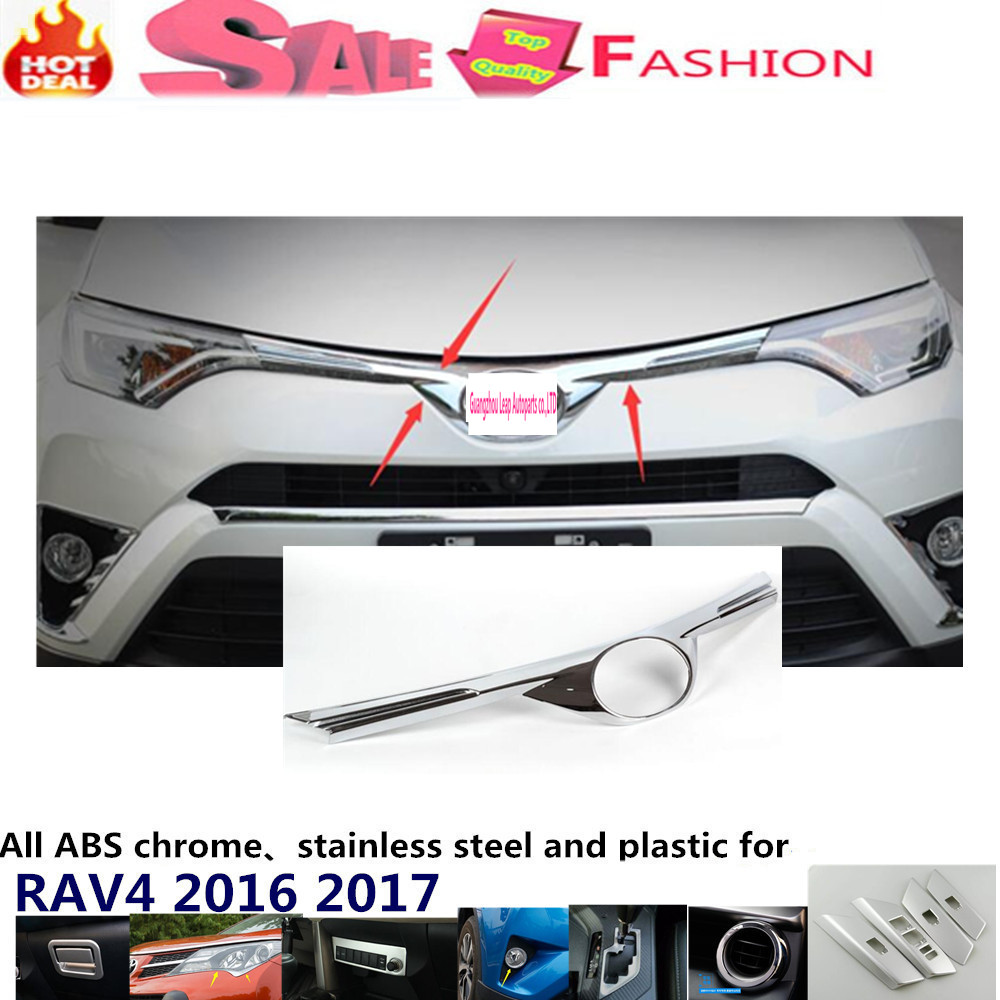 Car body ABS chrome Lamp trim head Front Grid Grill Grille racing Strip frame panel 1pcs for Toyota New RAV4 2016 2017 car styling cover bumper engine abs chrome trim bottom front grid grill grille edge lamp frame panel 1pcs for vw aud1 a4l 2017