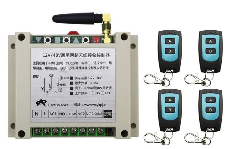 New DC12V 24V 36V 48V 10A 2CH Radio Controller RF Wireless Relay Remote Control Switch 315 MHZ 433 MHZ 4 Transmitter+1 Receiver dc12v 10a 8 ch 8ch radio controller rf wireless remote control switch system 315mhz 3 transmitter 1 receiver 3062