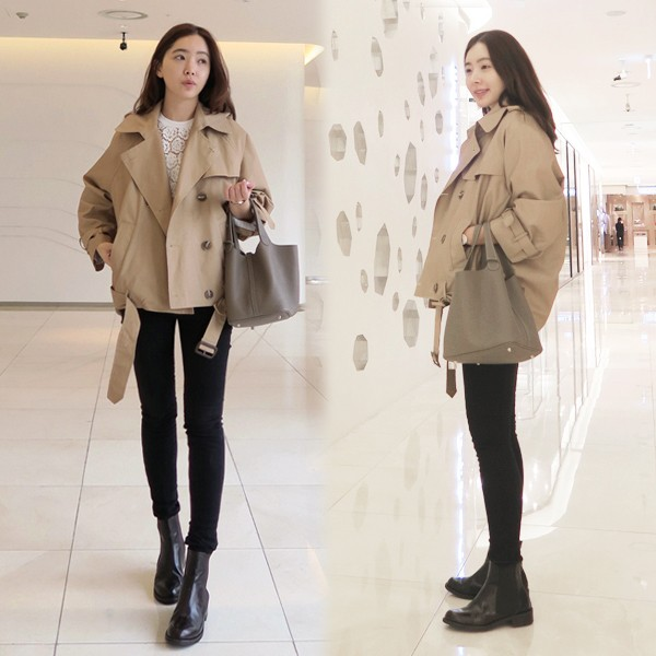 New Double Breasted Plus size Winter Coat short Women   Trench   Girls Vintage Fashion Oversize Coats Autumn Windbreaker Outerwear