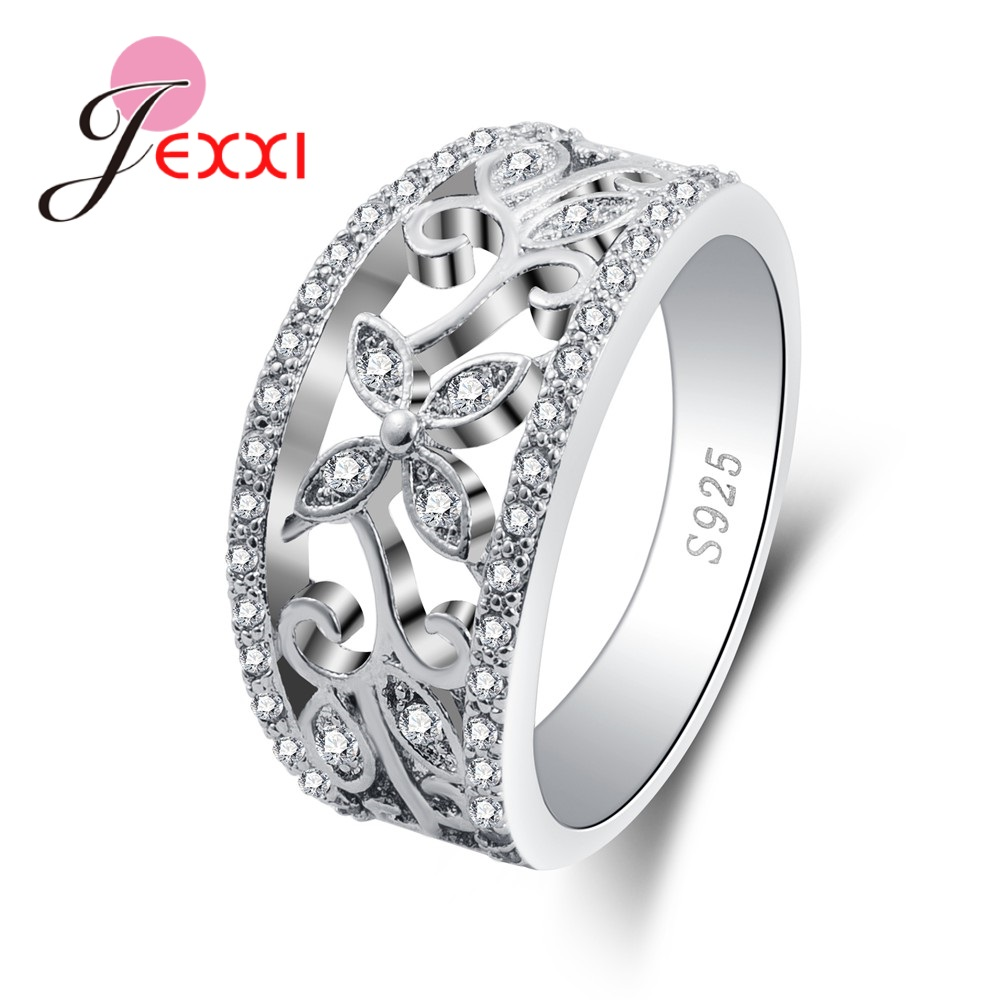 Big Promotion New Flower Rhinestone Beautiful Brand Good Quality Pure 925 Sterling Silver Rings Wedding Ring For Women