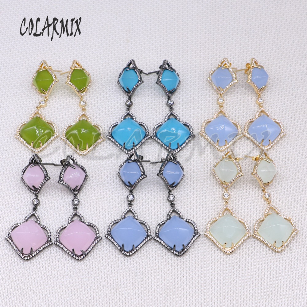 Mix color  Natural stone earrings natural stone Fashion stone earrings wholesale jewelry earrings  gift for lady 4508