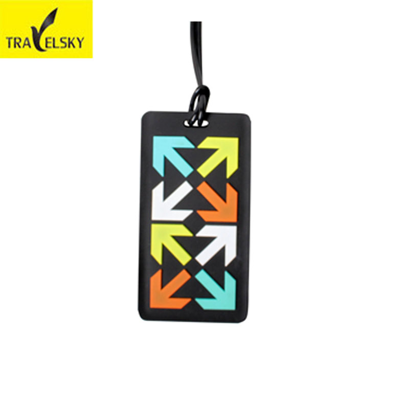 New Silicone-rubber luggage tags colors arrow in front and business card address on back Hot sale 1 pcs TRAVELSKY 2016