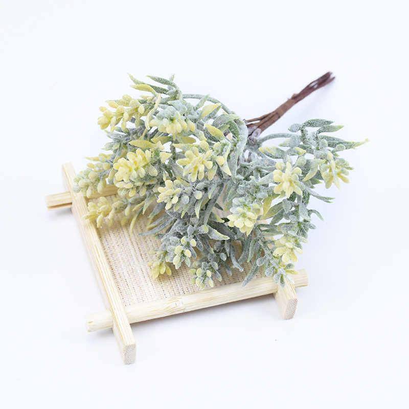 6 Pcs/Bundel Pohon Buatan Rumput Plastik Natal Scrapbook Bunga untuk Dekorasi Rumah Pesta Pernikahan Tanaman Palsu Hadiah DIY karangan Bunga