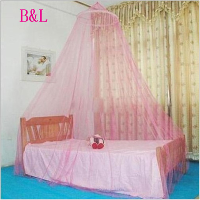 Summer Hung Dome Lace Mosquito Net Canopy Bed Netting Circular Landing Single-door Pink Purple & Summer Hung Dome Lace Mosquito Net Canopy Bed Netting Circular ...