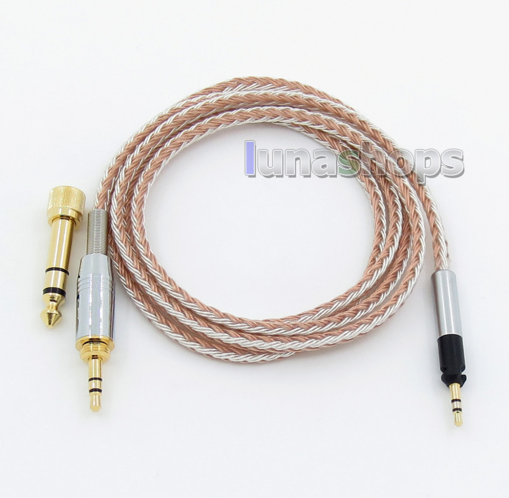 6 5mm 3 5mm 16 Cores OCC Silver Plated Mixed Headphone Cable For Senheiser HD598 HD558