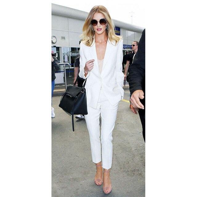 9973bf22cf98 Новый модный белый брючный костюм женский деловой костюм женские строгие  брюки костюмы для свадеб смокинг комплект