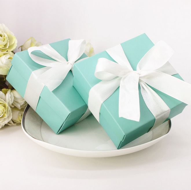 32e29f740f 100 x Tiffany Blue Square Wedding Favors Candy Boxes Paper Box Gifts ...