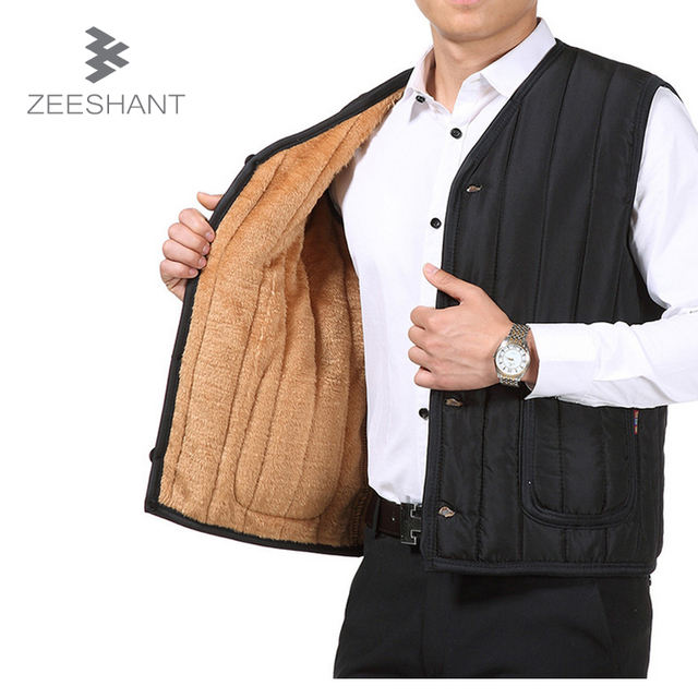 Middle Aged Men's Vest Brand Winter Male Fashion Cotton-Padded Waistcoat Jacket and Coat Warm Vest Gilet Homme Colete Masculino