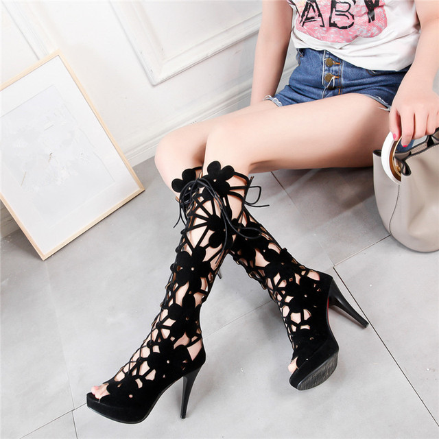 8da206ee09d85 YMECHIC Women Black Peep Toe Hollow Flower Cross Tied Lace Up Thin High  Heels Knee High Gladiator Sandals Lady Summer Boots Shoe