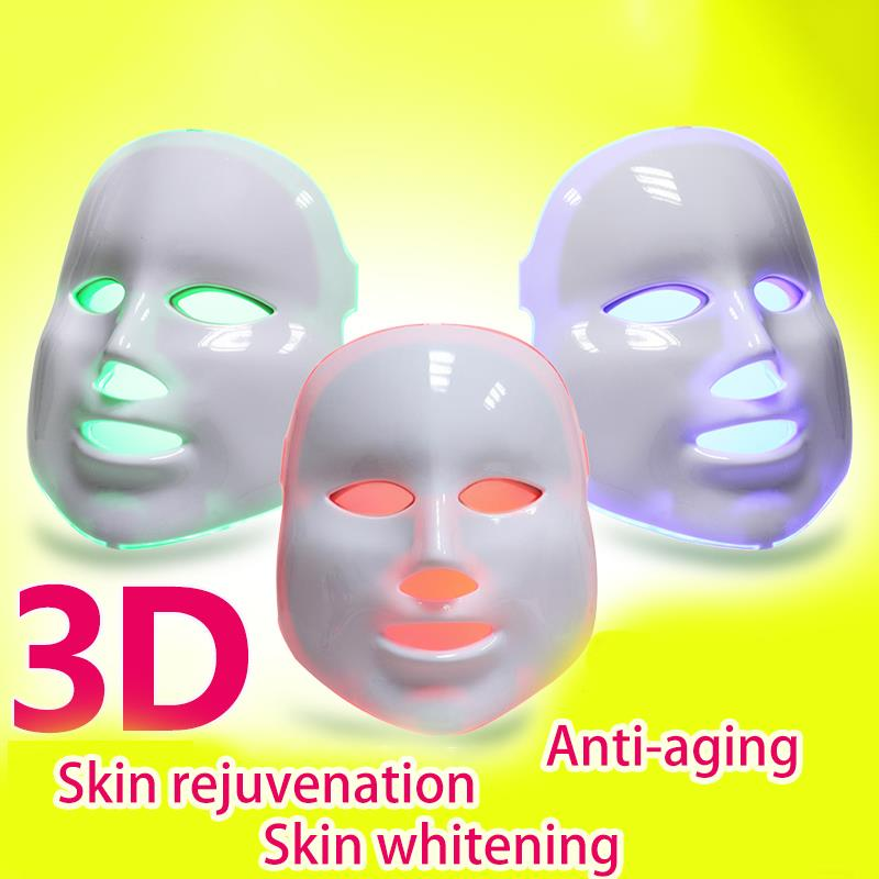 PDT Photon LED Facial Mask Skin Rejuvenation Anti-Aging Face Mask Wrinkle Removal Therapy Beauty tool 7 Colors 150led light bulb 7color led mask photon light skin rejuvenation therapy facial mask ice roller stainless steel blackhead needle bend curved