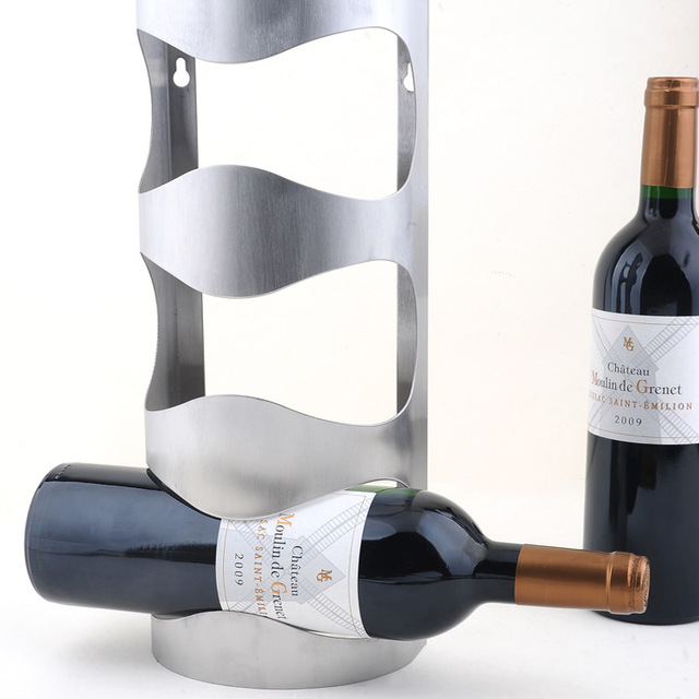 Us 1756 7 Off1pc New Design 304 Stainless Steel Wall Wine Rack Wall Mounted Bar Counter Wine Holder For 3 Bottles J3003 In Other Bar Accessories