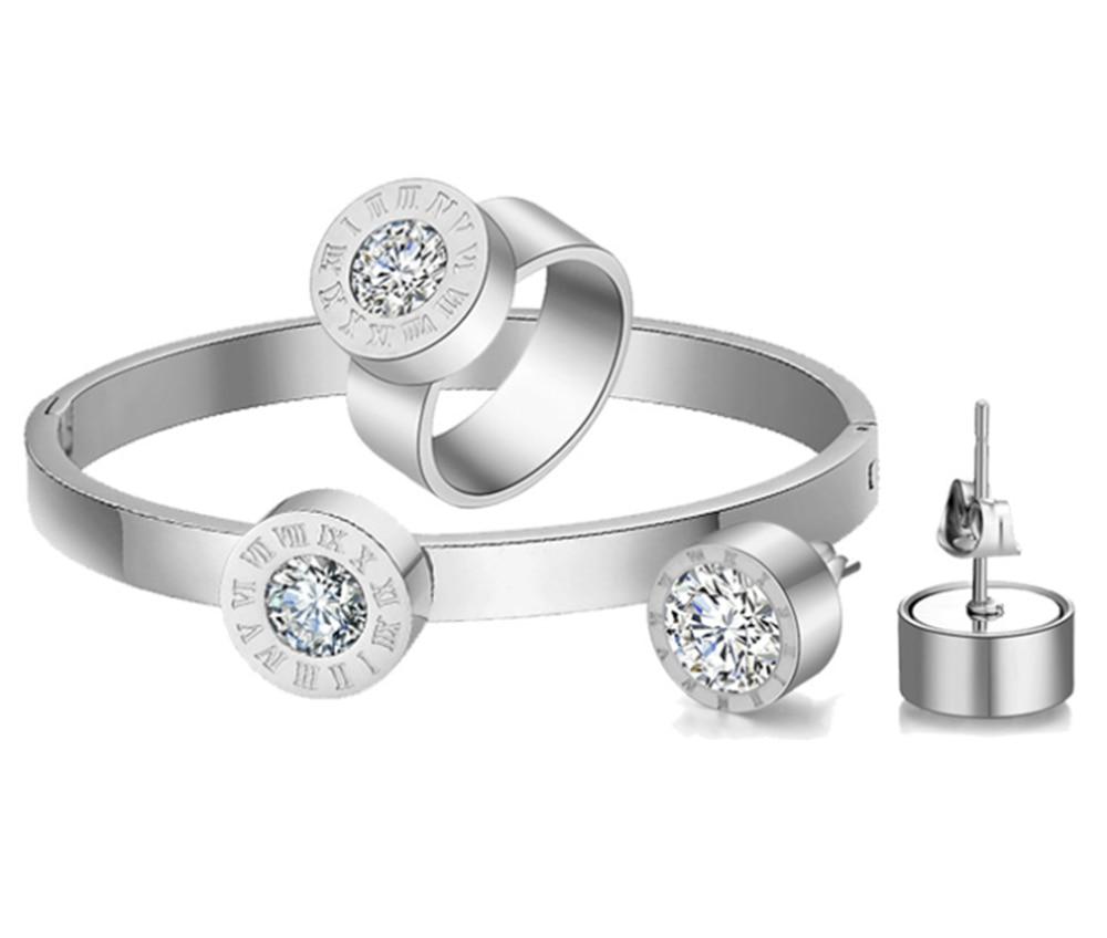 Collar redondo con colgante de cristal, joyería en 3 colores, diseño de Número Romano, anillo de acero inoxidable, pulsera, pendiente, joyería para mujer