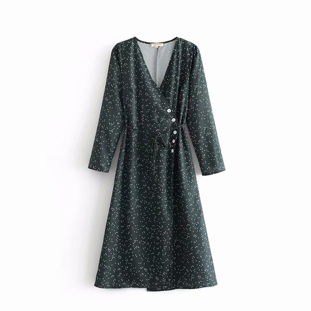 V-neck Lace-up Women Vintage Dress Dot Printed 2018 Autumn Rouje Buttons Warp Dress Women Casual Midi Dress cwd0208-5