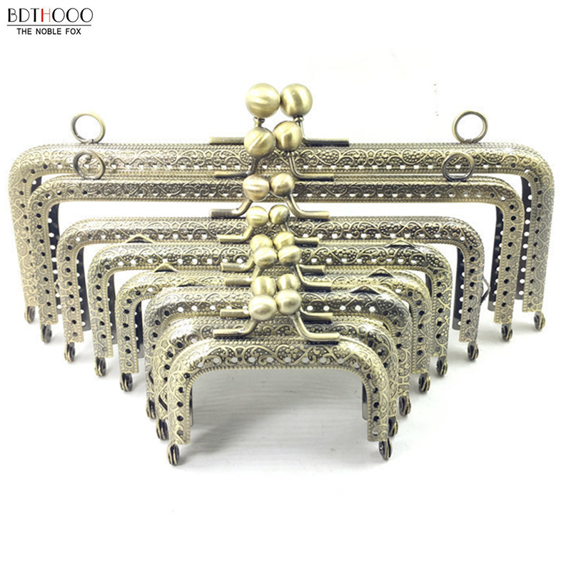 BDTHOOO DIY Metal Frame Purse Handle Coins Bags Metal Kiss Clasp Lock Frame Accessories For Bag 6.5/7.5/8.5/10.5/12.5/15/18/20cm(China)