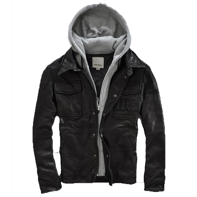 2015  Fashion  Hooded  Removable  Advanced sheep skin  Short paragraph  Men's leather jackets