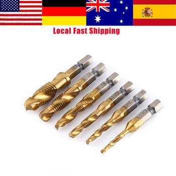 цена на 6Pcs Titanium Coated HSS Drill Tap Bit M3/M4/M5/M6/M8/M10 Metric Thread Spiral Screw Taps Tool Set 1/4 Hex Shank Tapping Tools
