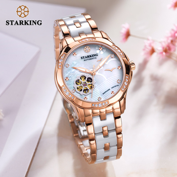 STARKING 34mm Automatic Watch Rose Gold Steel Case Vogue Dress Watches Skeleton Transparent Watch Women Mechanical Wristwatches 4