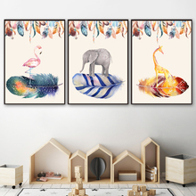 Watercolor Flamingo Elephant Feather Wall Art Canvas Painting Nordic Poster And Print Animal Wall Pictures For Living Room Decor watercolor leaf flamingo tassel hanging painting wall decor print