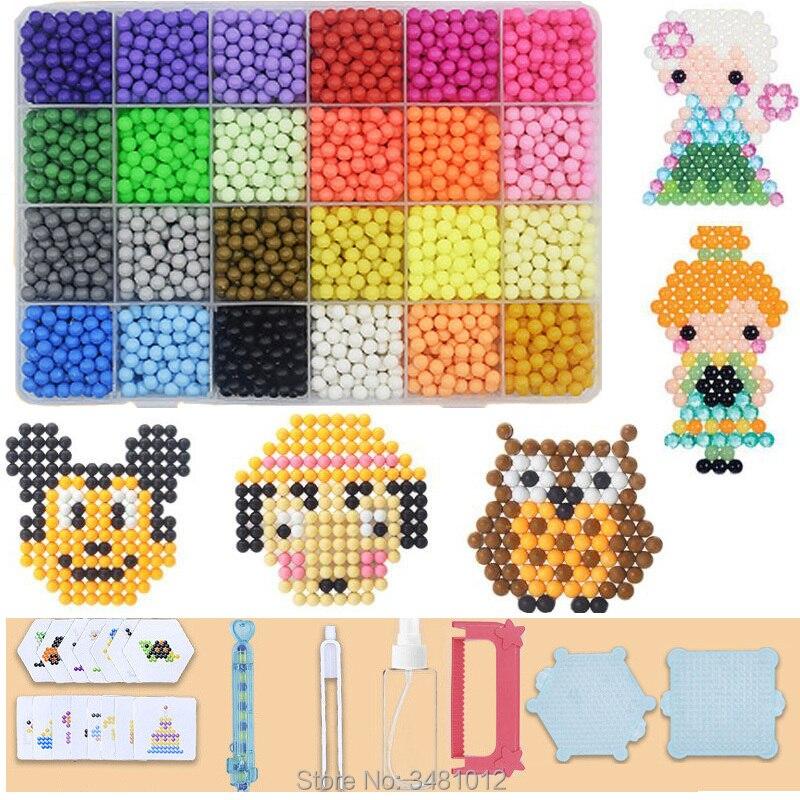 24 colors Aqua Beads 3D 5mm DIY Jigsaw Tool Crystal Aquabeads Beadbond Pegboards Puzzles Kids Educational Toys Set for Children