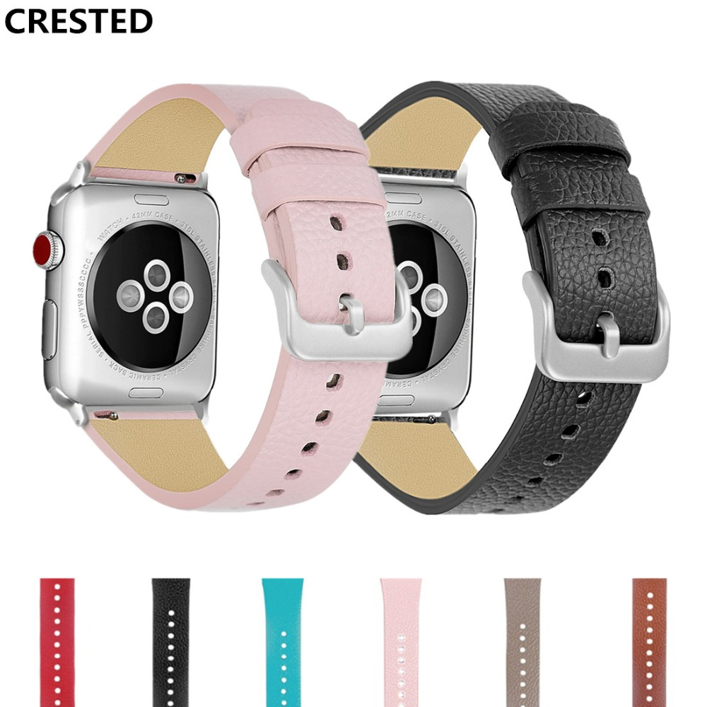 CRESTED Classic Leather Strap For Apple watch band iwatch series 3 2 1 42mm 38mm Wrist bands bracelet watchband belt Accessories crested woven nylon strap for apple watch band 42mm 38mm leather iwatch series 3 2 1 wrist bands bracelet watchband belt 2018