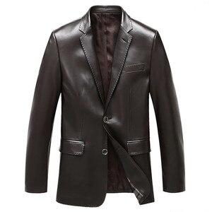 Image 3 - Chaqueta de traje para hombre, chaquetas de piel de oveja, ropa de abrigo ajustada, traje de cuero genuino para hombre, chaqueta de piel de oveja auténtica, chaqueta negra, azul, vino tinto S14CZF1401